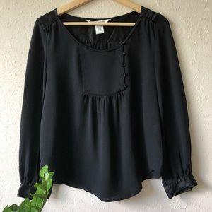 Diane Von Furstenberg Black Silk Bib Blouse